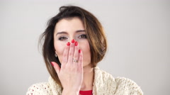 Woman blowing kiss. Happy attractive female 4K. Stock Footage
