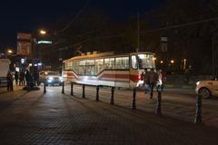 Nizhny Novgorod, Russia -04.11.2015. October street with tram rails - stock photo