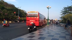 Timelapse view of tourist bus group trevel in Vung Tau city Stock Footage