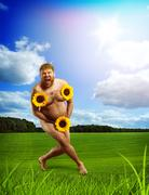 Nude man in  green field with sunflowers Stock Photos