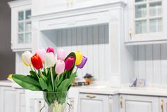 Wood beautiful custom kitchen interior design Stock Photos