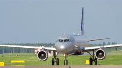 Aeroflot airplane on runway Stock Footage