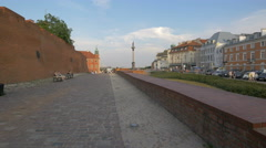 Resting near the Old Town brick wall in Warsaw Stock Footage