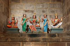 Hindu goddesses Parvati, Lashmi and Saraswati statues in Tock temple. Tiruchi Stock Photos