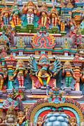 Kali image. Sculptures on Hindu temple gopura (tower). Menakshi Temple, Madur Stock Photos