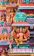 Brahma image. Sculptures on Hindu temple gopura (tower). Menakshi Temple, Mad Stock Photos
