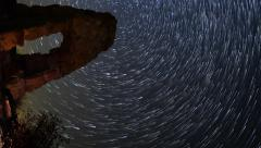 Astro Time Lapse of Star Trails over Abandoned Scenic Ruin -Vertical/Pan- - stock footage