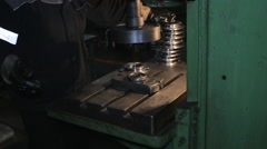 Processing metal blank machined with rotation Stock Footage