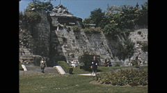 Stock Video Footage of Vintage 16mm film, 1963, Normandy, ancient abandoned fortifications