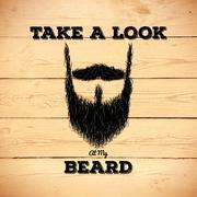 Hipster beard on wooden background - stock illustration