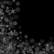 Snowfall with random snowflakes in the dark - stock illustration