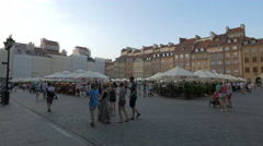 Restaurants and souvenir stalls in the Old Town Market Place, Warsaw Stock Footage