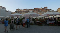 Beautiful restaurants and souvenir stalls in the Old Town Market Place, Warsaw Stock Footage