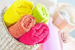 color towels - stock photo