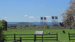 Columbia River Interstate-5 draw bridge from Fort Vancouver Stock Footage