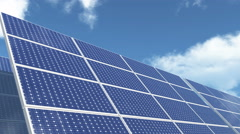 4k Solar panels-green free energy,timelapse clouds flying. Stock Footage