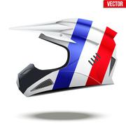 France Flag on Motorcycle Helmets Stock Illustration