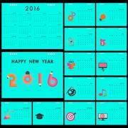 Desk Calendar 2016 Vector Design Template.Set of 12 Months.Week Starts Sunday - stock illustration