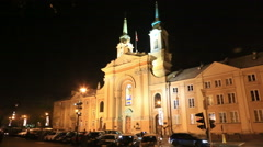 Warsaw city hall in night, Poland Stock Footage