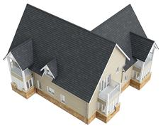 Big house with tile roof, top view - stock illustration