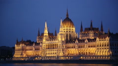 The House of the Country at night, Budapest Stock Footage