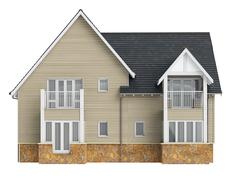 Country house high roof, front view Stock Illustration