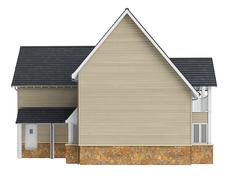 Country house lined with wooden siding, front view Stock Illustration