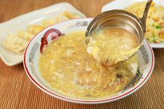 Chinese egg soup - stock photo