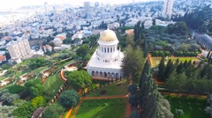 Bahai temple and gardens - 360 aerial around the golden dome aerial footage Stock Footage