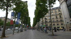 Walking on Avenue des Champs-Elysees cross to Rue La Boetie, Paris Stock Footage