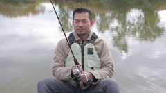 fisherman scared expression - stock footage