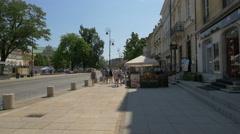 Krakowskie Przedmiescie street with tourists on a sunny day, Warsaw Stock Footage