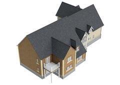 House villa with tile roof, top view - stock illustration