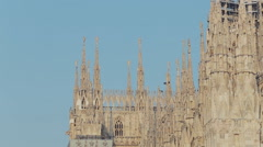 The top of ancient famous cathedral piazza duomo in Milan Stock Footage