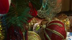 Santa Claus under the Christmas tree. - stock footage