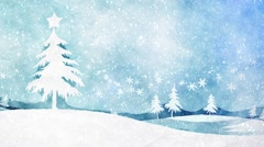 Blue watercolor christmas Stock Footage