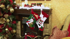 A variety of Christmas toys fireplace. - stock footage