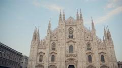 MILAN, ITALY model walk near Milan Cathedral and posing camera  Stock Footage