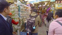 Shoppers browse through many varieties of tropical aquarium fish Stock Footage
