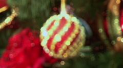 Beautiful red ball on a Christmas tree. - stock footage