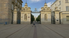 Coat of Arms above the main gate of University of Warsaw, Warsaw Stock Footage