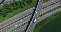 Crane shot of vehicles moving on highways, Stuttgart, Baden-Wuerttemberg, - stock footage