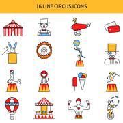 Circus Line Icons Set - stock illustration