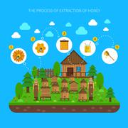 Process Of Honey Extraction Concept - stock illustration