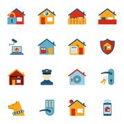 Smart home security system flat icons set - stock illustration