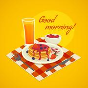 Breakfast Design Concept With Good Morning Wishing - stock illustration