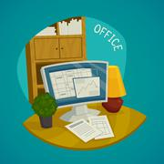 Office Design Concept Set Stock Illustration