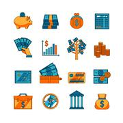 Finance business flat icons set - stock illustration