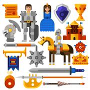 Flat Knight Icons Set Stock Illustration