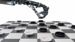 Robot hand playing a game of checkers, 3D animation Stock Footage